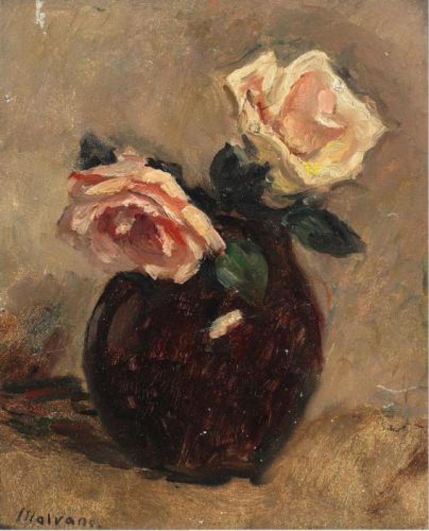Vaso con due rose