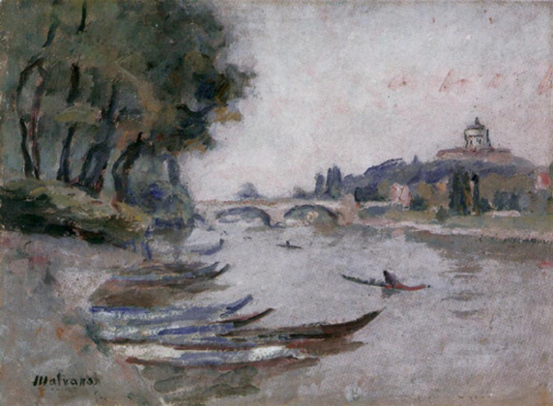 Barche in riva al Po e Monte dei Cappuccini