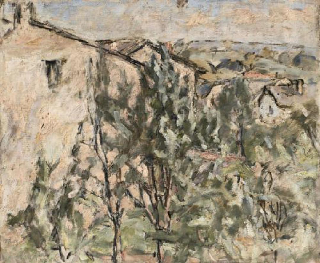 Paesaggio con case e alberi