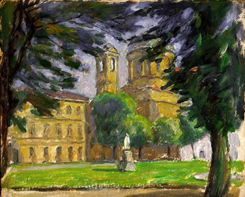 """L""""aiuola Balbo con la Chiesa di S. Massimo sullo sfondo"""