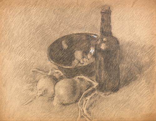 Natura morta con cipolle e bottiglia