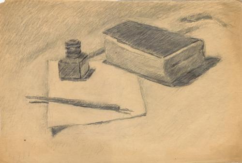 Libro, penna e calamaio
