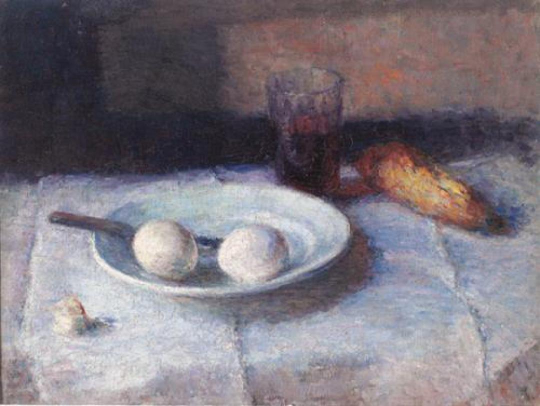 Natura morta con piatto e uova