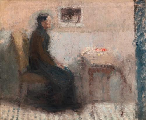 Donna al tavolino (Interno dello studio con figura)