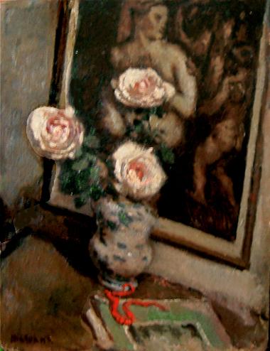 Nat. morta con rose e collana rossa (Vaso con due rose e quadro sullo sfondo)