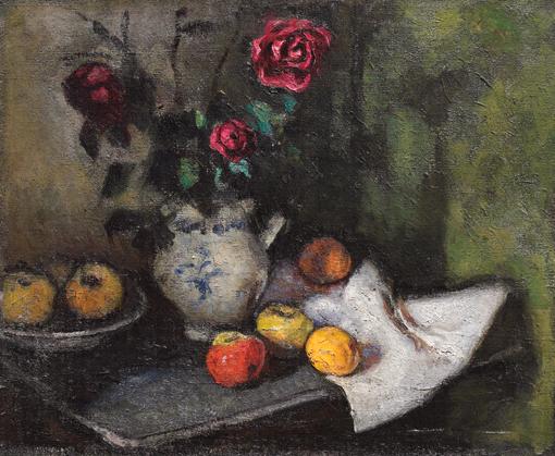Natura morta con rose e frutta