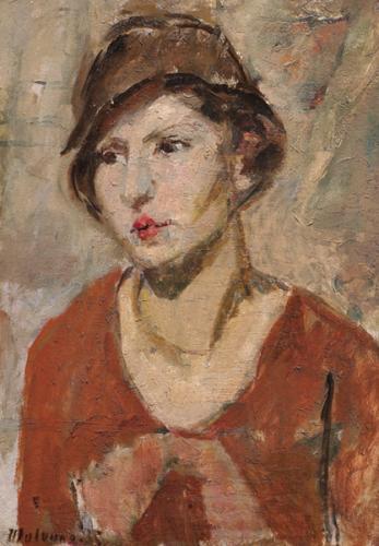 Ritratto di donna con cappello marrone