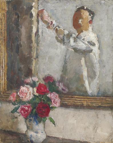 Autoritratto con vaso di rose