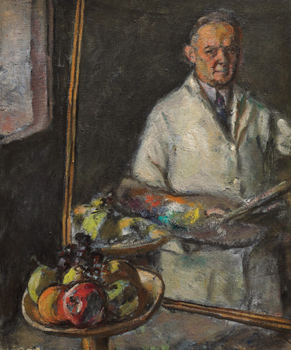 Autoritratto allo specchio con fruttiera