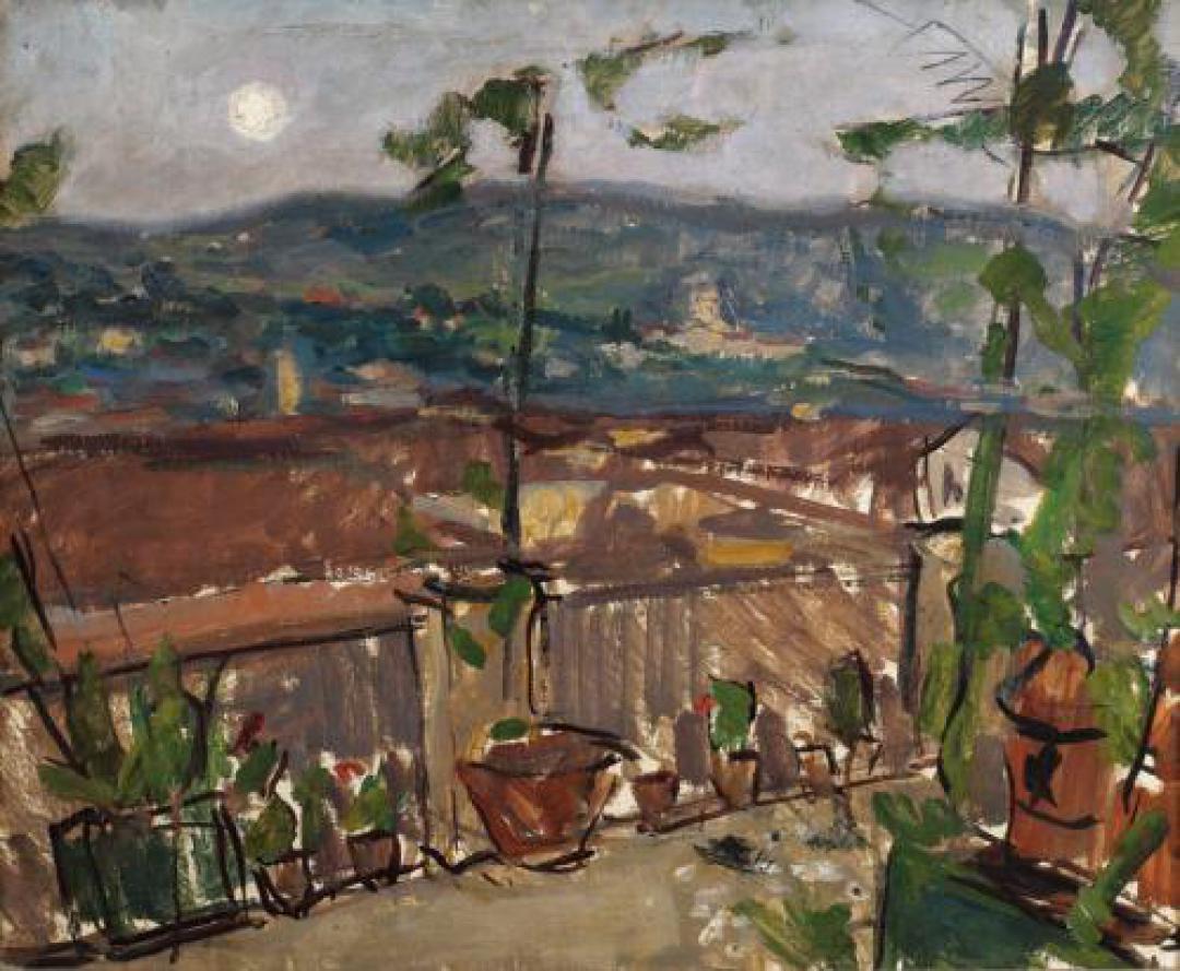 Dal terrazzo dello studio di sera