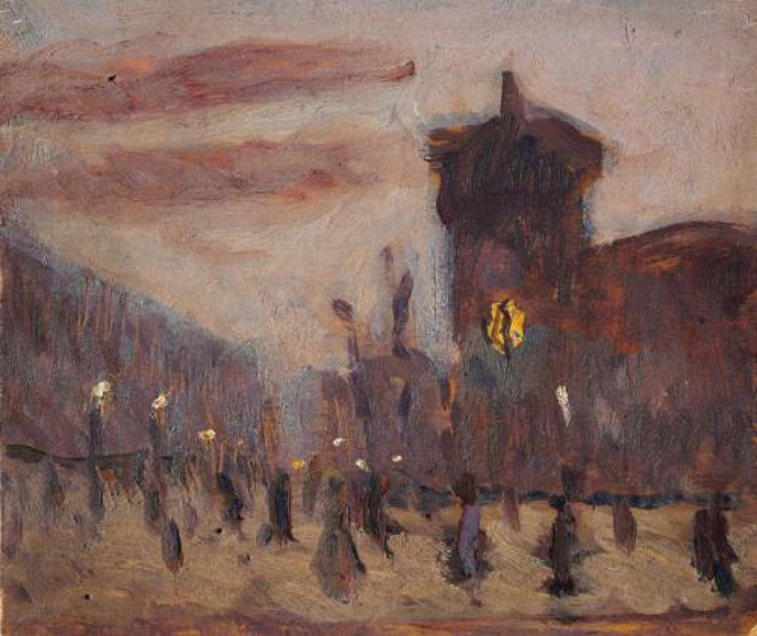Piazza Castello all'imbrunire