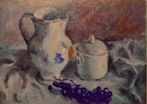 Composizione con uva e vaso