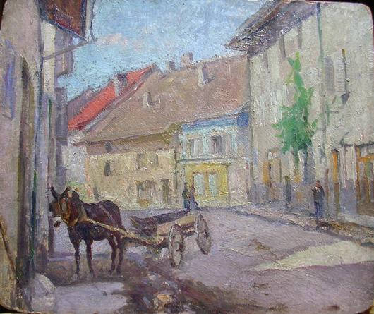 Strada di paese francese con carretto e mulo