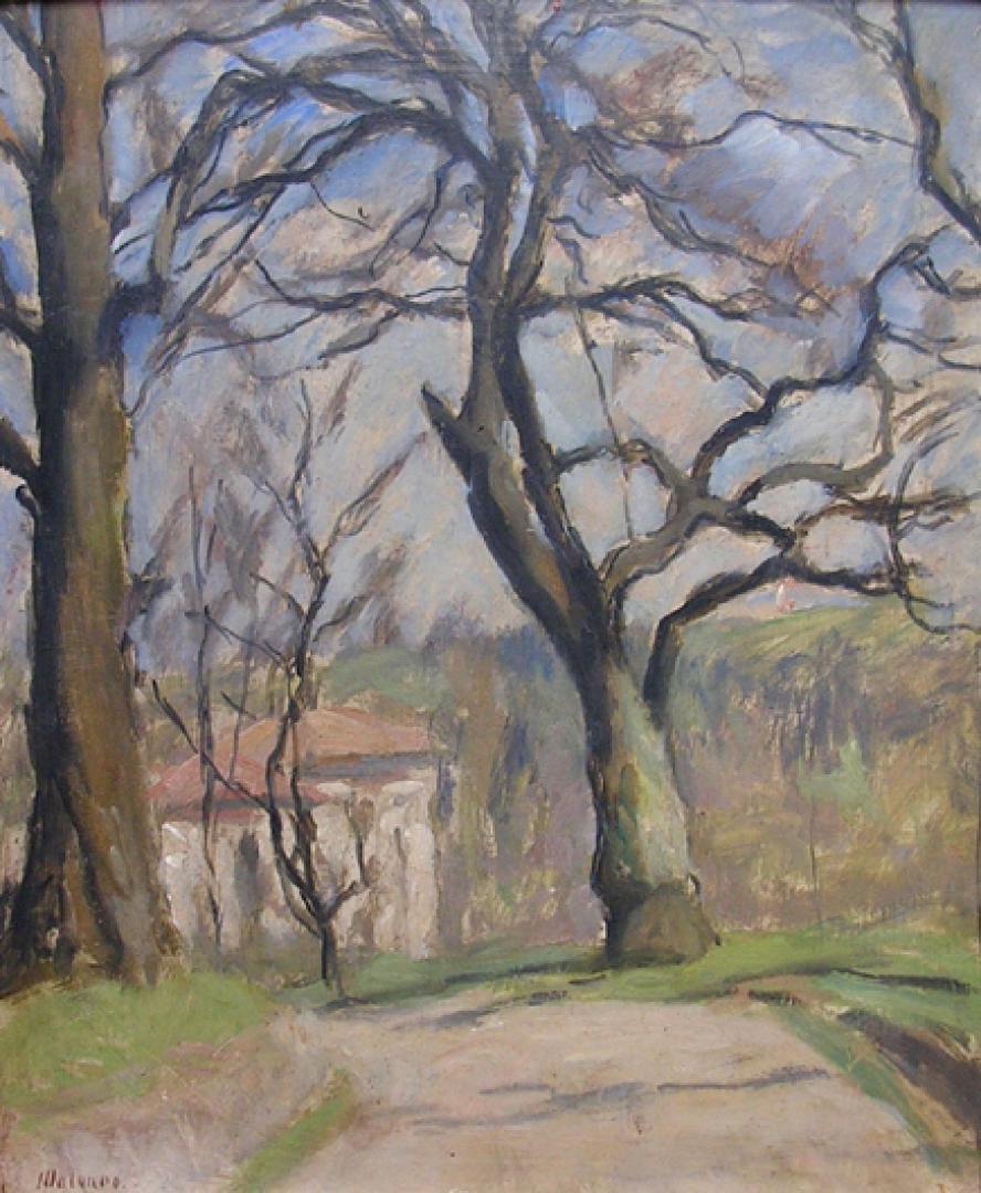 Paesaggio con grandi alberi