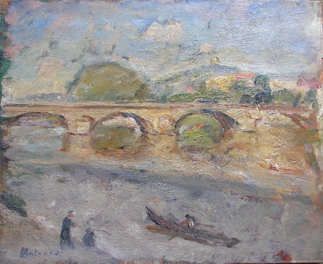 Ponte sul Po e barca a remi
