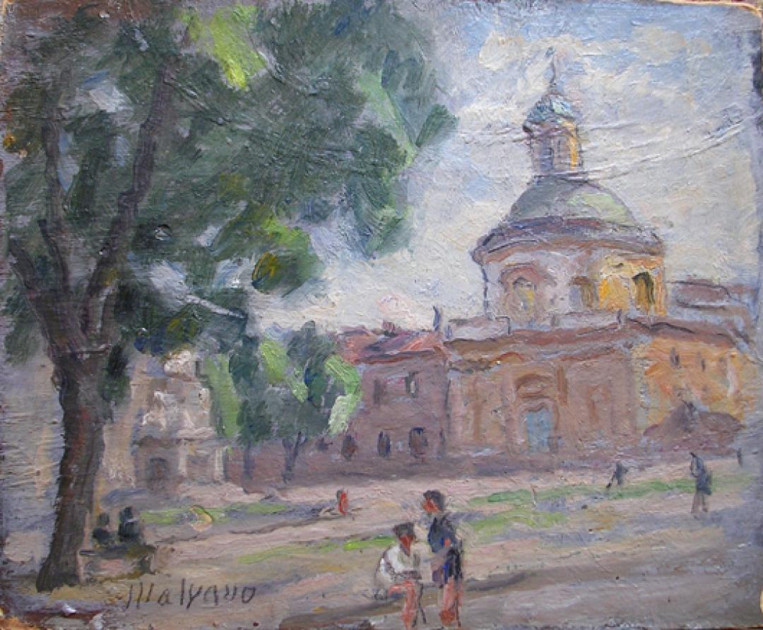 Piazza Carlina con figure