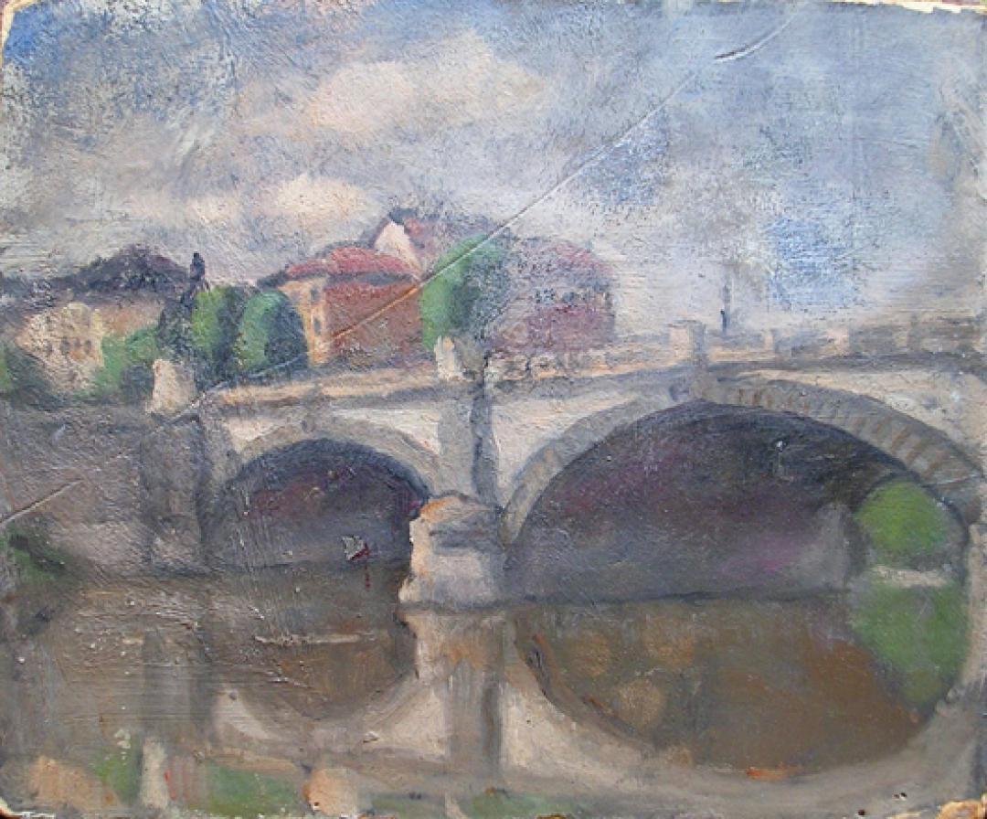 Ponte e case sul Po