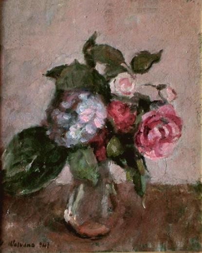 Natura morta con rose e ortensia
